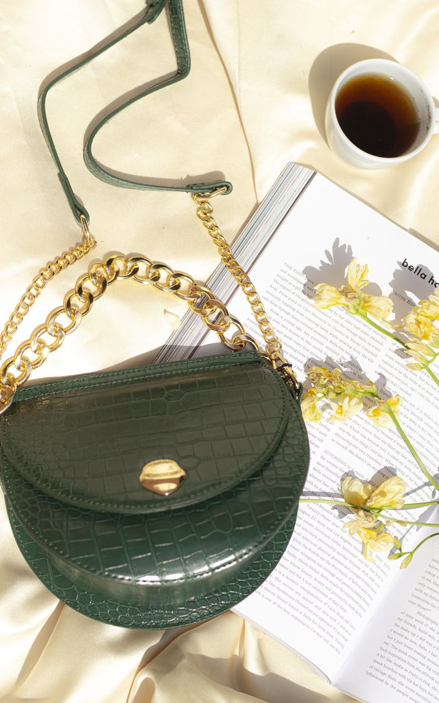 Green Half Moon Croc Effect Bag by Sugar + Style