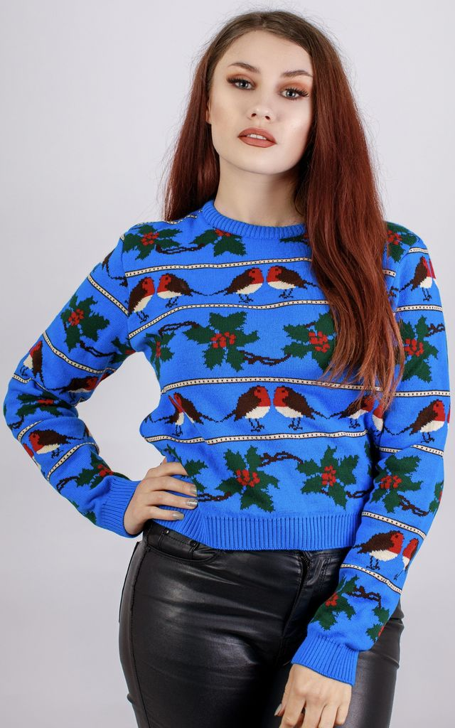 Cobalt Blue Robin Acrylic Winter Jumper by In The Knitwear