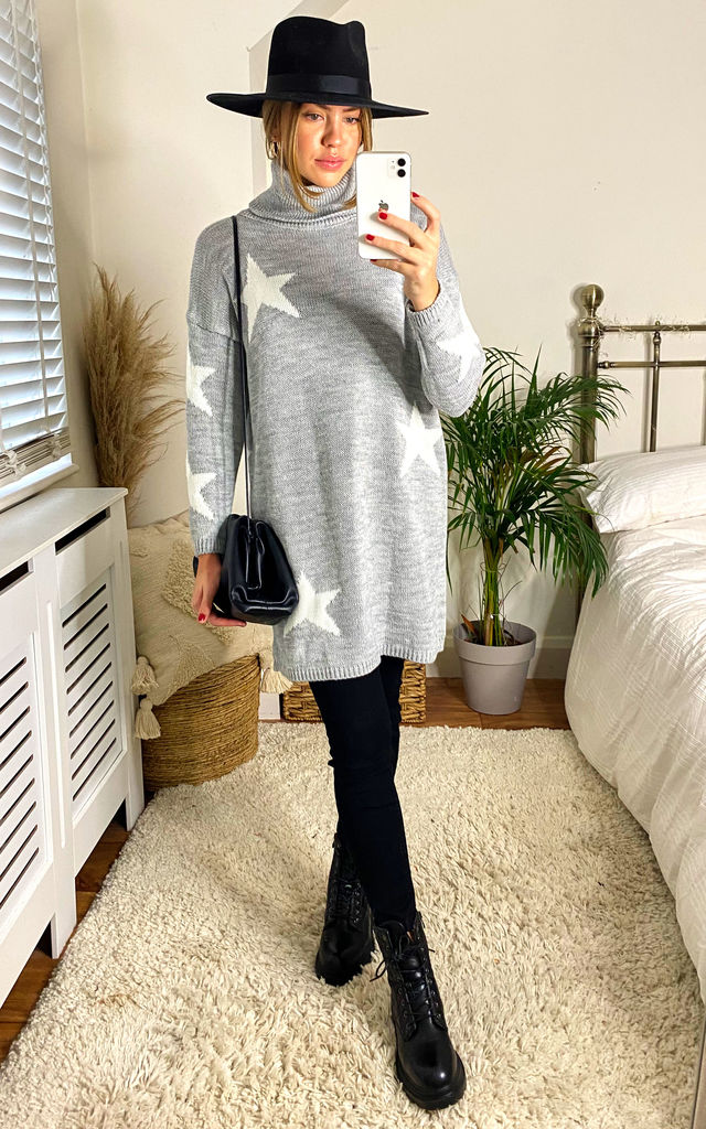 Polo Neck Star Jumper Tunic in Grey by KURT MULLER
