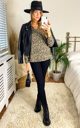 V Neck top in Beige Leopard Print by JDY