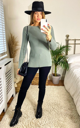 Ribbed Knit Jumper in Sage by LIENA