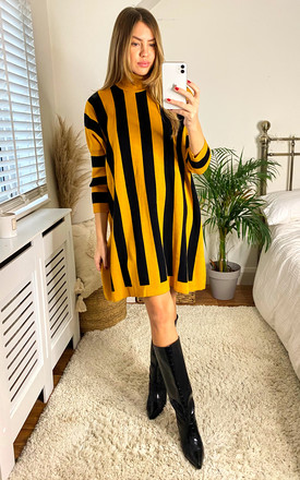Eloise Mustard /Black Stripe Jumper Dress by Faux