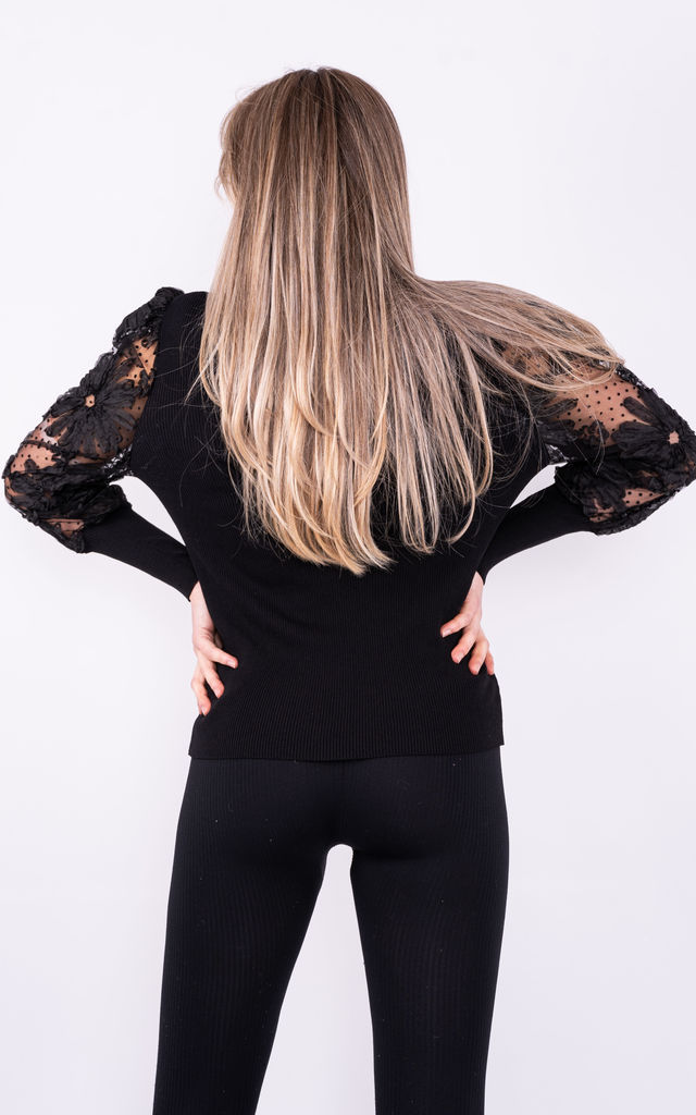 Black Going out Top with Long Puff Sleeves by Lucy Sparks
