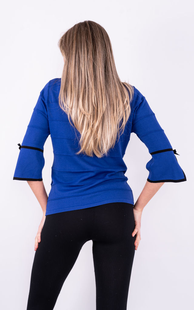 V NECK KNIT TOP WITH ROSE in Blue by Lucy Sparks