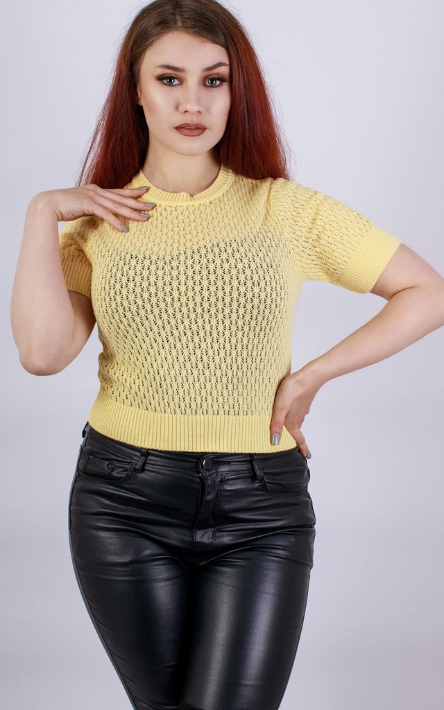 Yellow Corn Retro Lightweight Knit Short Sleeved Top by In The Knitwear