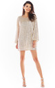 Loose Sequin Mini Dress in Beige by AWAMA