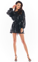 Loose Sequin Mini Dress in Black by AWAMA