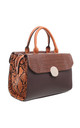 CROC AND SNAKE PRINT BOWLING BAG BROWN by BESSIE LONDON