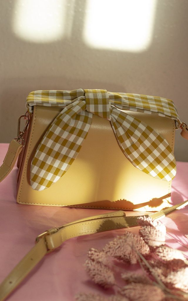 Yellow Messenger Bag With Gingham Picnic Handle by Sugar + Style