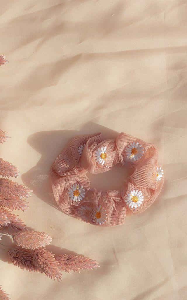 Pink Netted Embroidered Daisy Scrunchie Hair Tie by Sugar + Style