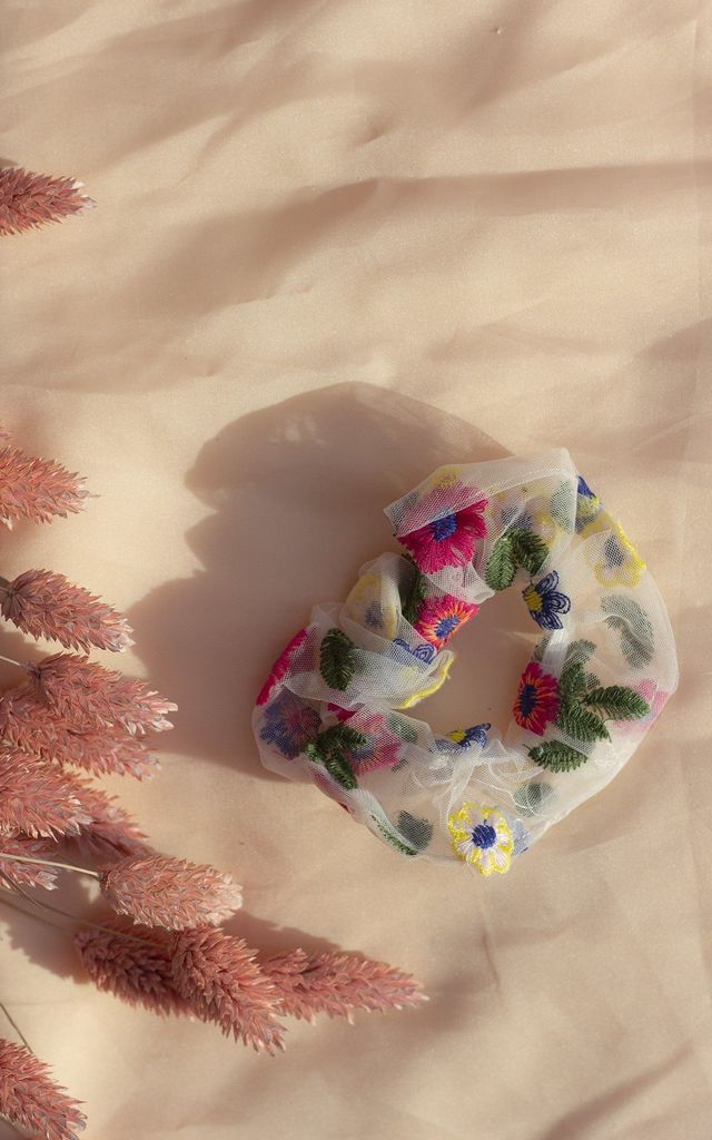 White Netted Embroidered Floral Scrunchie Hair Tie by Sugar + Style