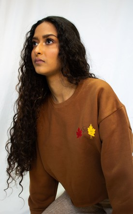Brown Cropped Sweatshirt by grapeviine