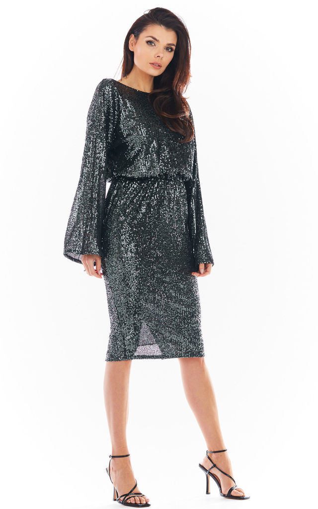 Sequin Midi Dress with Bare Back in Graphite by AWAMA