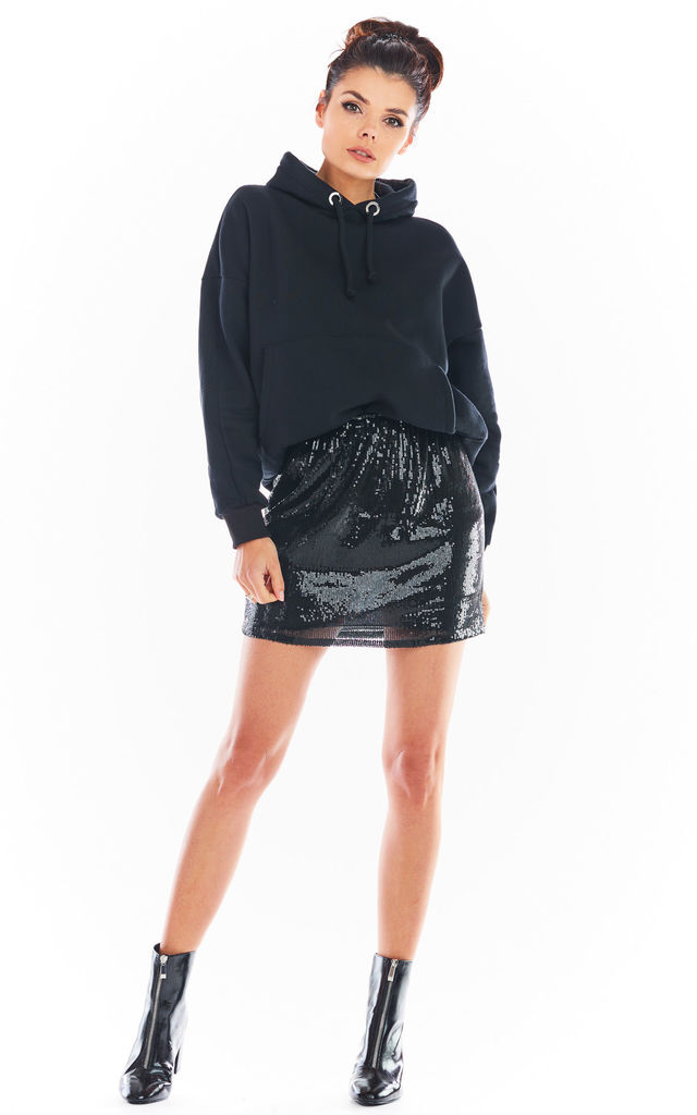 Sequin Mini Skirt in Black by AWAMA