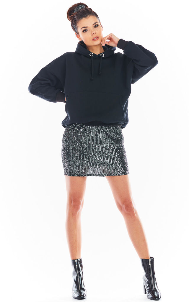 Sequin Mini Skirt in Graphite by AWAMA