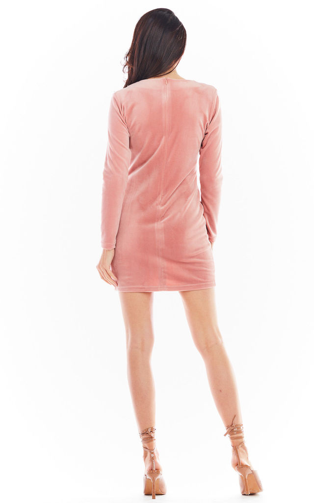 Velvet Mini Dress with Slit in Pink by AWAMA