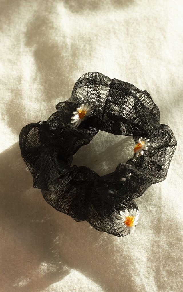 Black Netted Embroidered Daisy Scrunchie Hair Tie by Sugar + Style