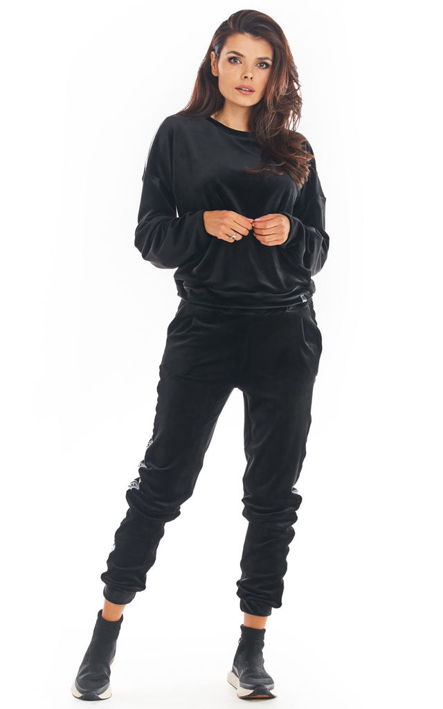 Loose Velvet Sweatshirt with Logo Strap in Black by AWAMA