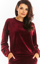 Loose Velvet Sweatshirt with Logo Strap in Maroon by AWAMA