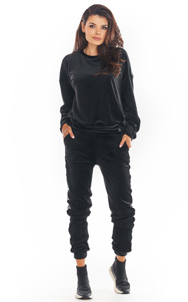 Velvet Joggers with Logo Strap in Black by AWAMA