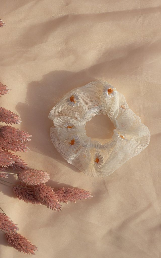 White Netted Embroidered Daisy Scrunchie Hair Tie by Sugar + Style