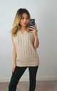 Cable Knit Beige Sweater Vest Knit Jumper by GIGILAND UK