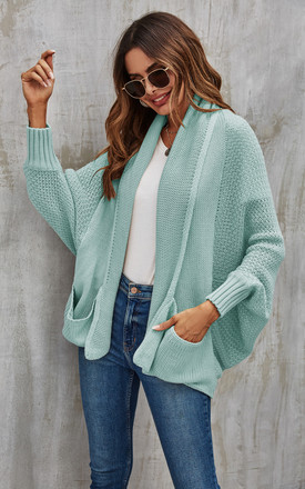 Mint Green Chunky Pleat Oversized Cardigan by FS Collection