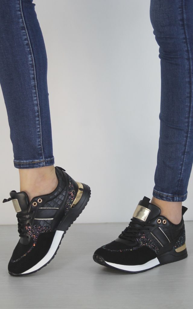 Chunky Rubber Heel Trainers Multi-Coloured Glitter In Black by Boutique Store