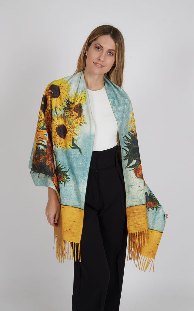Multicoloured Super Soft Wool Fringed Scarf in Sunflower Painting Print by Trillion London