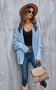 Chunky Pleat Oversized Cardigan In Blue by FS Collection