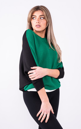 Green Batwing Knitted Top by Lucy Sparks