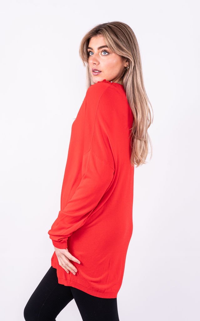 LONG SLEEVE TOP WITH FLORAL NECKLINE in RED by Lucy Sparks