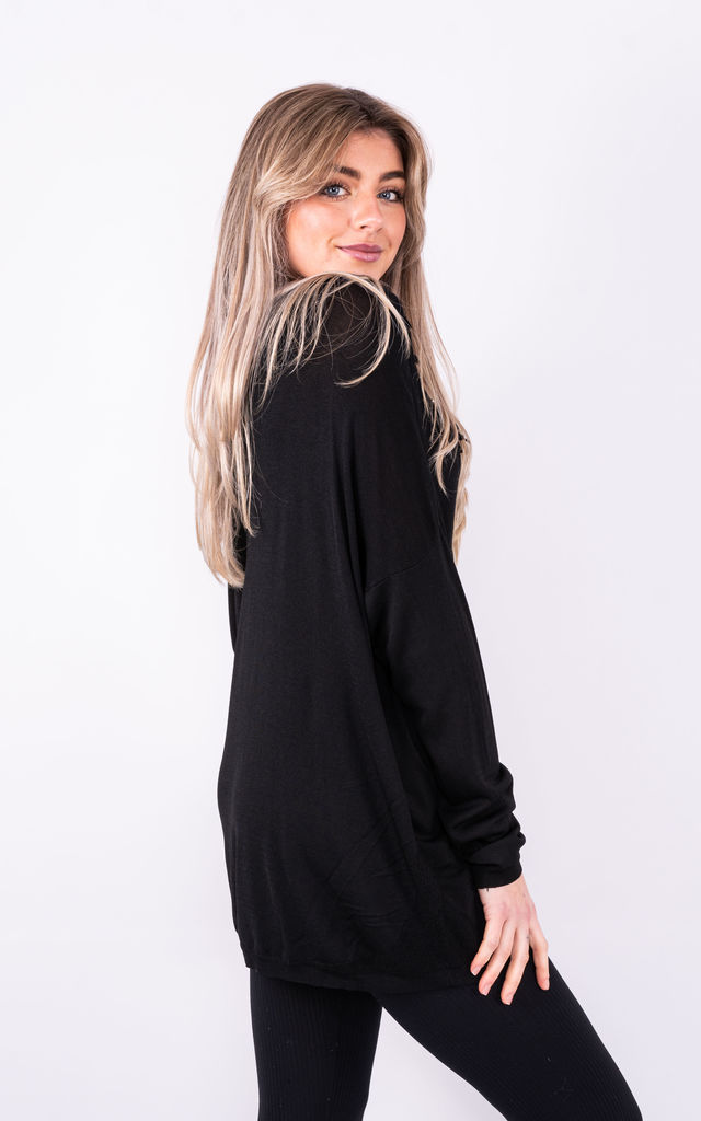 LONG SLEEVE TOP WITH FLORAL NECKLINE in BLACK by Lucy Sparks