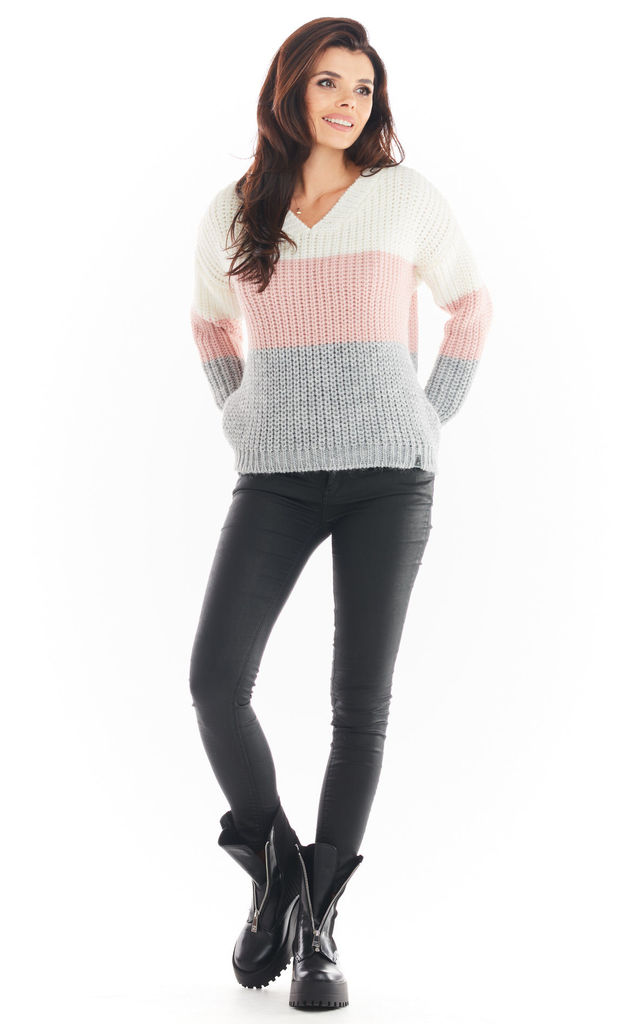V-Neck Jumper in Pink by AWAMA