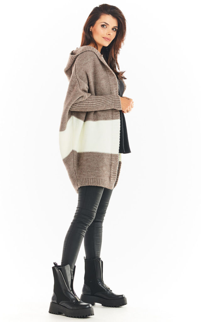 Oversized Cardigan with Hood in Beige by AWAMA