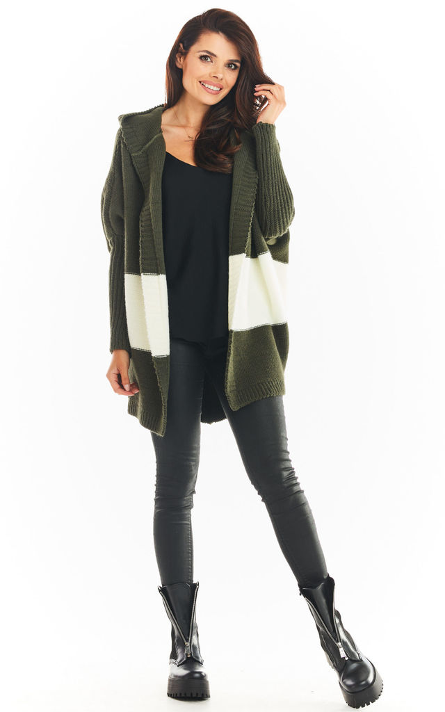 Oversized Cardigan with Hood in Khaki by AWAMA