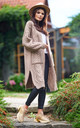 Long Thick Cardigan in Beige by AWAMA