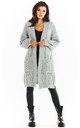 Long Thick Cardigan in Grey by AWAMA