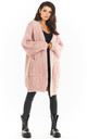 Long Thick Cardigan in Pink by AWAMA