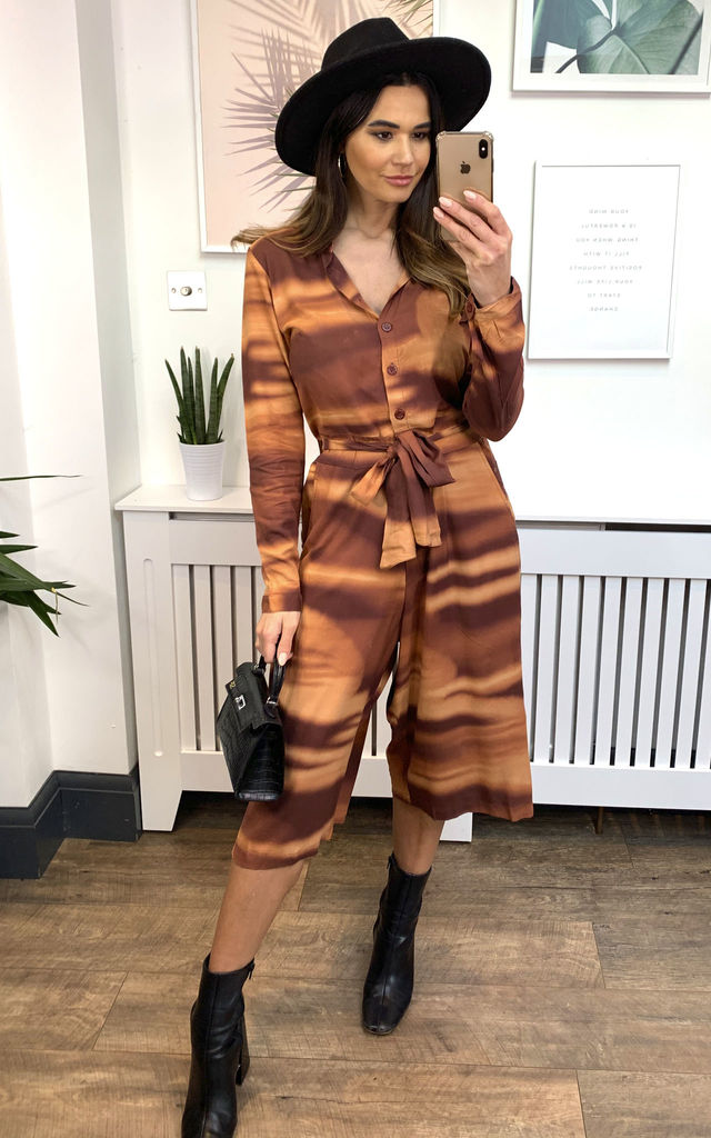 Long Sleeve Culotte Jumpsuit Tie Dye Tan by Ruby Rocks