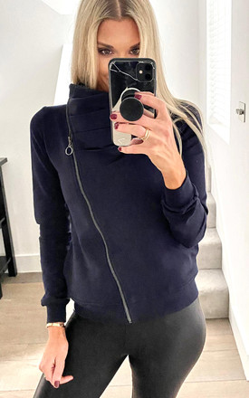 Navy Blue Zipped Sweatshirt With High Stand Up Collar by MOE Product photo
