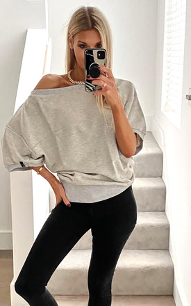 Light Grey Oversized Blouse With Front Wrapped by MOE Product photo