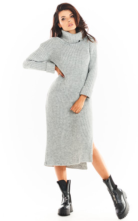 Midi Knitted Dress with Turtleneck in Grey by AWAMA