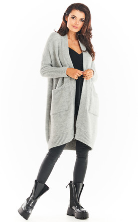Loose Cardigan with Pockets in Grey by AWAMA