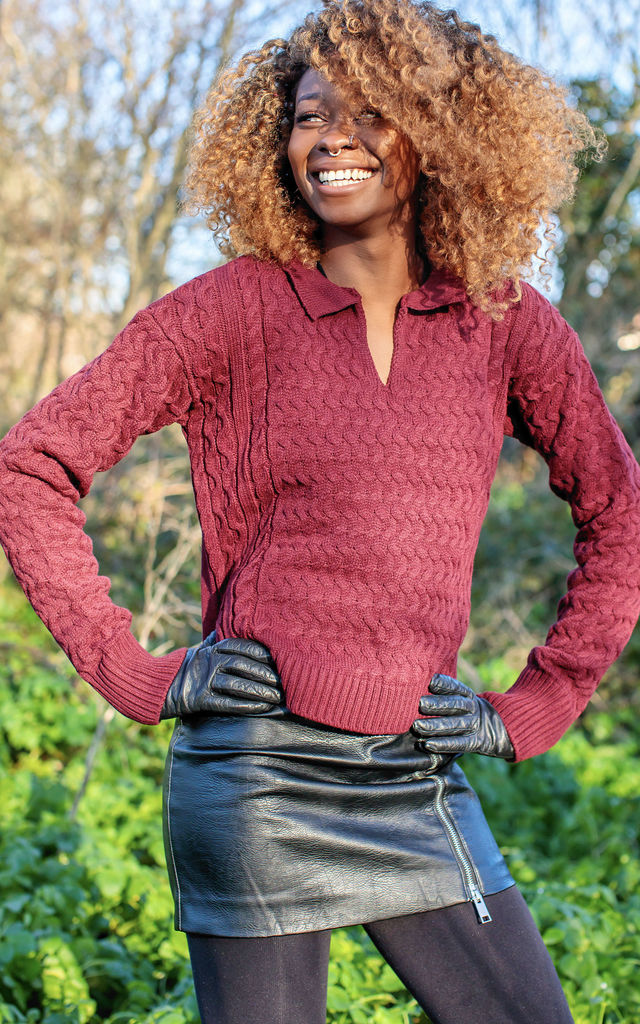 Burgundy Collared Jumper by In The Knitwear