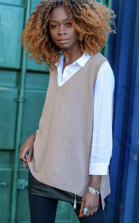 Taupe V Neck Sweater Vest Tank by In The Knitwear