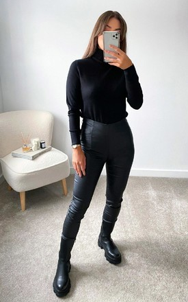 Una Faux Leather Trousers in Black by IKRUSH