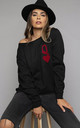 Queen of Hearts Oversized Sweatshirt In Black/Red by James Steward