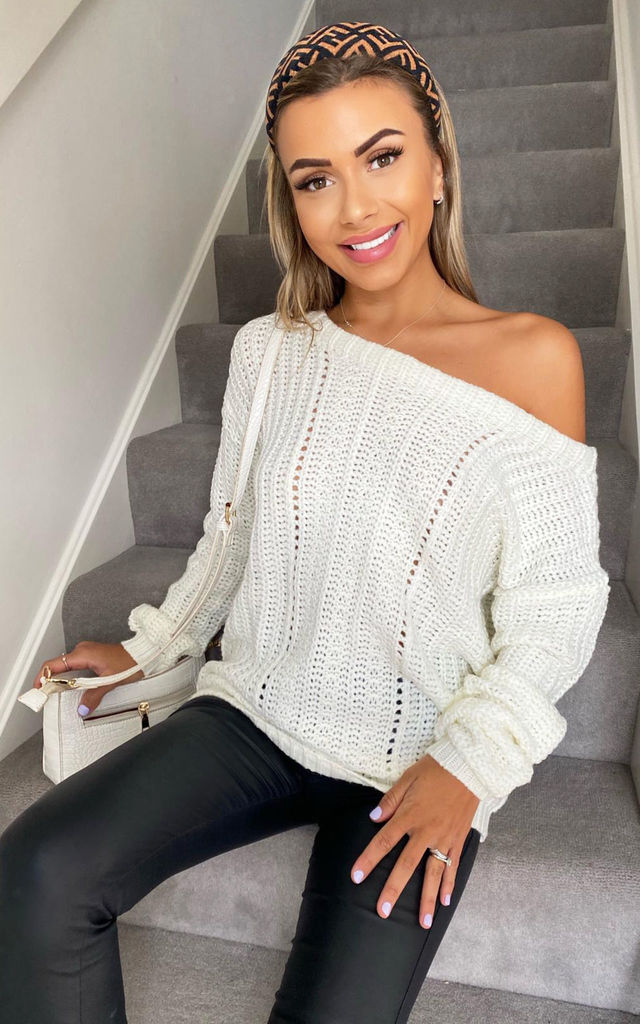 Cream Off The Shoulder Chunky Knit Jumper by AX Paris