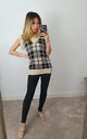 Cable Knit Beige Checked Sweater Vest Knit Jumper by GIGILAND UK